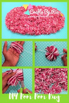 DIY Pom pom rug- How to make a pom pom floor mat - Crafts By Ria How to make a . DIY Pom pom rug- How to make a pom pom floor mat – Crafts By Ria How to make a pom pom rug Very Yarn Crafts, Decor Crafts, Diy Crafts, Homemade Crafts, Fabric Crafts, Mason Jar Crafts, Mason Jar Diy, Diy Pom Pom Rug, Easy Crafts To Sell