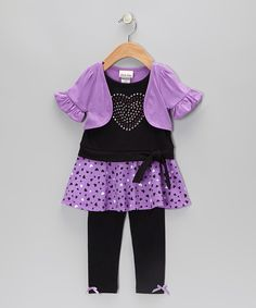 Take a look at this Purple Heart Layered Tunic & Leggings - Infant, Toddler & Girls on zulily today!