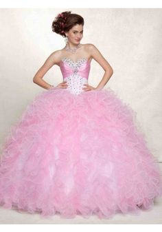 Ball Gown Sweetheart Organza Pink Quinceanera Dress With Beading