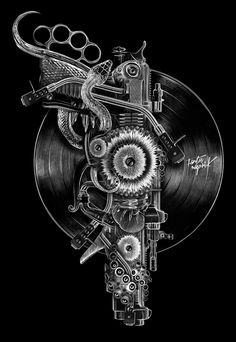 Digital illustration by Obery Nicolas Music Tattoo Designs, Music Tattoos, Posters Geek, Music Illustration, Skull Art, Beautiful Artwork, Photo Manipulation, Graphic, Illustrations Posters