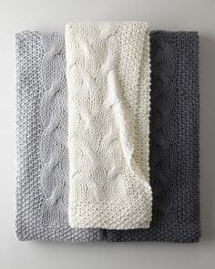 Cable-Knit Throw - Horchow - like the one on the left. I think that's gray but it may be what they are calling blue. Knitting Blogs, Baby Knitting, Knitting Patterns, Knitting Socks, Knitting Ideas, Manta Crochet, Knit Crochet, Cable Knit Throw, Beds For Sale