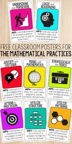 Free Standards for Mathematical Practices posters for your classroom. Perfect for the upper elementary or middle school classroom. via Teacher Thrive - Mathematical Practices Posters, Standards For Mathematical Practice, Mathematics, Teaching Critical Thinking, Teaching Math, Teaching Ideas, Teaching Posters, Teaching Fractions, Classroom Posters