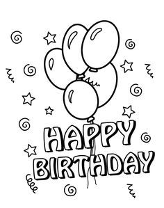 Happy Birthday Coloring Card Cards Kids Pages