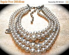 7 DAY SALE Chunky pearl necklace Multi-strand ivory pearl
