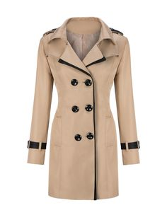 Lapel Contrast Trim Double Breasted Trench Coat