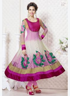 Pink And White Georgette Anarkali Suit In Esha Gupta Rs1,999  Price in reward points: 1000 INNER FABRIC: Santoon DUPATTA FABRIC: Nazneen BOTTOM FABRIC: Santoon STYLE: Anarkali Suit FABRIC: Georgette WORK: Embroidered COLOUR: Pink OCCASION: Party, Wedding, Festival CATALOG NO.: SEM213 DISPATCH WITHIN 1DAYS Product Code: 3970