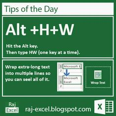 Tips of the Day: Microsoft Excel 2013 Short Cut Keys: Alt + HW