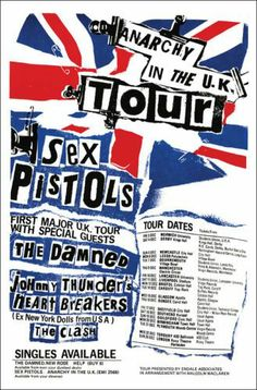 """Sex Pistols, """"Anarchy in the UK"""" Tour, (1976). - 1° England Tour by Sex Pistols, Guests: The Damned, J.Thunders and The Heartbreakers, The Clash!! - Original Graphic Punk Era!"""