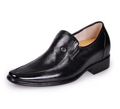 Black  heel lifts for shoes 7cm / 2.75inch with the SKU:MENJGL_4031 - Black men height increasing elevator dress shoes get tall 7cm / 2.75inches