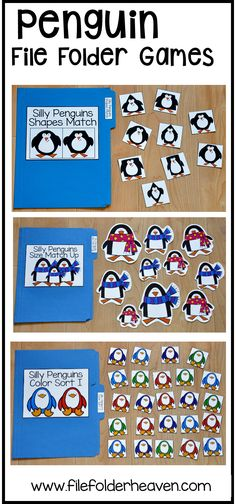 This Penguin File Folder Games Mini-Bundle focuses on basic matching and… Folder Games For Toddlers, File Folder Activities, File Folder Games, Hands On Activities, Toddler Activities, File Folders, Preschool Themes, Preschool Printables, Classroom Activities