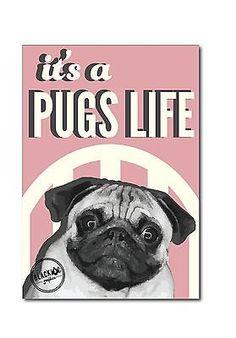 Pug's Life Poster Pink