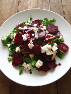 Beetroot, lentil and goat cheese salad... we had similar for dinner tonight
