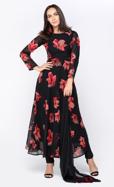 Black & Red Floral Flared Dress
