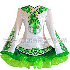Stunning White Eileen Plater Irish Dance Dress Solo Costume For Sale