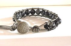 Mens Leather Cord Wrap Bracelet  Snowflake by BeadingDerby on Etsy, $30.00