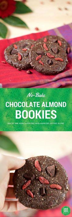No-Bake Chocolate Almond Cookies | WIN-WINFOOD.com #healthy #vegan #glutenfree…