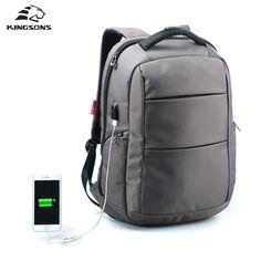 Kingsons 외부 USB 충전 기능 노트북 배낭 도난 남자 비즈니스 Dayback 여성 여행 가방 15.6 인치