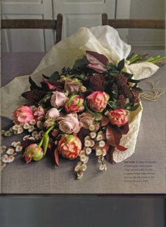 Moody pinks and maroons, flowers from book Jane Packer's guide to flower arranging