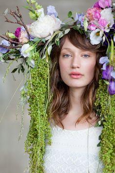 Okishima & Simmonds' 'Lizzy' Lisianthus headdress designed for British Flowers Week at New Covent Garden Flower Market