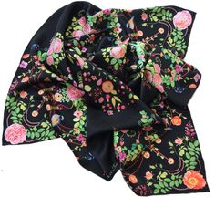 "100% silk scarf black floral square ""Chandeliers"""