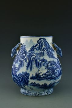 Chinese blue and white porcelain ginger jar, both sides painted with figures in a landscape. on Nov 2015 Blue And White China, Vintage Vases, Ginger Jars, White Porcelain, Tea Pots, Chinese, Pottery, Ceramics, Antiques