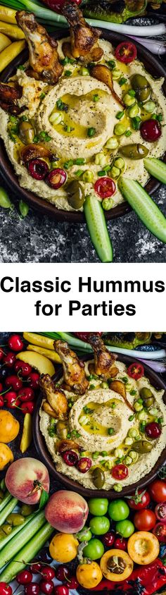 Classic Hummus is the perfect snack that satisfies everyone's taste buds at a party. Top it with your favorite foods and enjoy more!