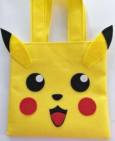 Conjunto de 12 bolsas Favor de Pikachu con etiquetas