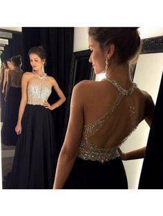 Long prom dress black prom dress, open back prom with Halter Neckline – BBDressing