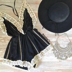 black gypsy lace romper