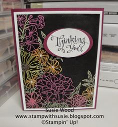 Blendabilities Markers: Old Olive, Daffodil Delight, Crumb Cake, Rich Razzleberry, Calypso Coral Color over white ep Screen Cards, Corner Garden, Magic Cards, Alcohol Markers, Embossed Cards, Scrapbook Cards, Scrapbooking, Tampons, Sympathy Cards