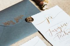 Grey & Gold Stationery Suite - 1920s Wedding Inspiration From Daisy Says I Do At Woodchester Mansion With White Green and Gold Colour Scheme And Images From Bowtie and Belle