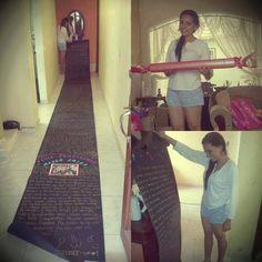 7 feet long love-letter *o* ♥♥♥. Longer than seven feet.^