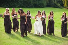 chocolate brown, floor length, elegant bridesmaids dresses at this rustic wedding http://su.pr/1aN7tZ photo by Honey Heart Photo