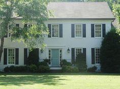 White house, black shutters, BM Wythe Blue front door