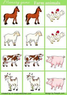 farm animal, memory game, free printable