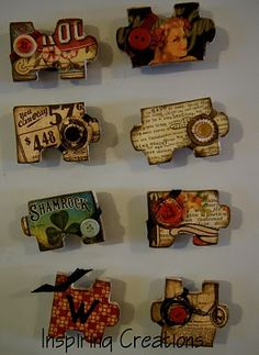 Magnets out of puzzle pieces....easy little tutorial