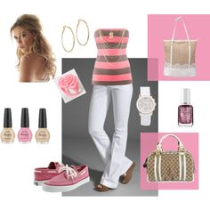 Pink & Brown Stripe, created by beezkneez223 on Polyvore
