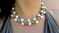pearl necklace bride necklace wedding beaded by DolceStilNovoLab