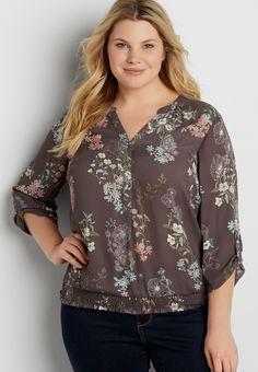 36ec090680f44 the perfect plus size blouse with smocked bottom hem. maurices