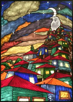 Crowded - stained glass art