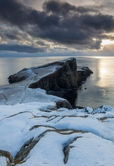 Neist Point covered in snow, Isle of Skye, Scotland.