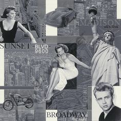 Rasch Iconic Silver Screen Hollywood Stars Vinyl Wallpaper - 820805 - http://www.godecorating.co.uk/rasch-iconic-silver-screen-hollywood-stars-vinyl-wallpaper-820805/