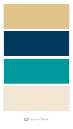 Gold, Navy, Teal, and Champagne Wedding Color Palette - custom color palette created at MagnetStreet.com                                                                                                                                                      More