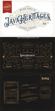 Java Heritages Typeface is a multi-layered type family with opentype features, inspired by vintage signage that have unique decorative shapes. Comes with 4 system that can be layered to create d Vintage Typography, Typography Letters, Typography Logo, Calligraphy Letters, Lettering Tutorial, Lettering Design, Pilot Parallel Pen, Vintage Type, Vintage Fonts Free