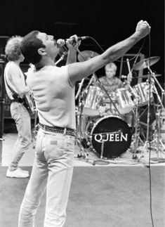 Queen rehearsing at the Shaw Theatre in Euston ahead of the Live Aid concert at Wembley, 10th July, 1985.
