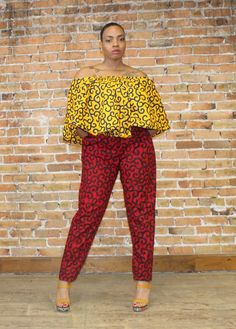 Ankara Pants and Off Shoulder Top African Maxi Dresses, Latest African Fashion Dresses, African Dresses For Women, African Print Fashion, Africa Fashion, African Attire, African Wear, Ankara Dress Designs, Ankara Dress Styles