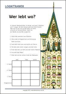 Logiktrainer - Denksportaufgabe für Kinder - kostenlos als PDF herunterladen und ausdrucken