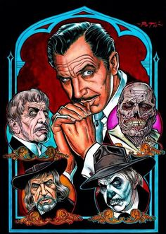 The one, the only and my idol, Vincent Price 💀 Horror Icons, Horror Films, Horror Art, Vincent Price, Scary Movies, Old Movies, Rockabilly, Tv, Famous Monsters