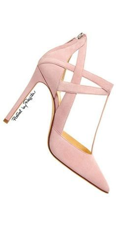 Pink Leather Pointed Toe Pump w Heel Zip Detail 2015