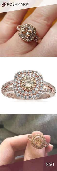 Rose Gold Plated 6mm Double Halo Ring .925 sterling sliver with rose gold Plated 6mm CZ Double Halo Ring. Size 6,7,8 available only. Jewelry Rings